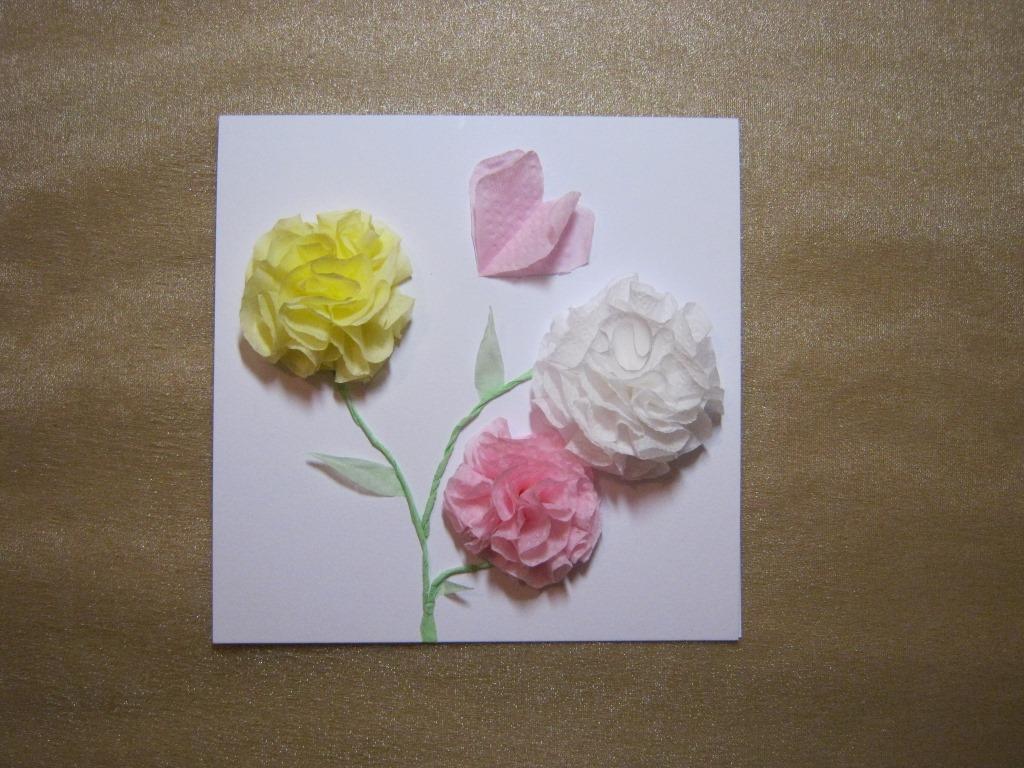 Открытка из салфетки на картоне