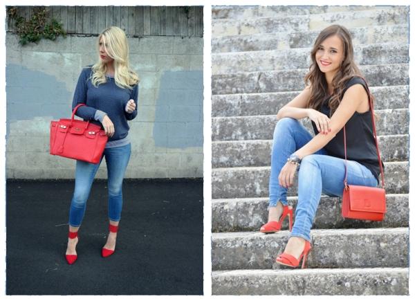 162c3afddd7e Jeans + červené topánky + biela košeľa + veľké príslušenstvo a váš obrázok  bude hrať s novými farbami.