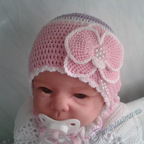 связать шапку для младенца спицами